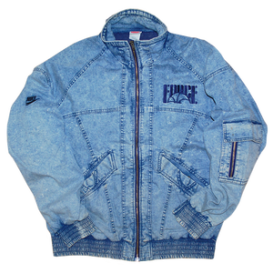 """Nike Force"" Vintage Acid Wash Denim Jacket Used"