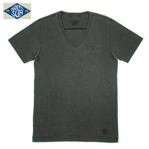 NS002006 USA COTTON V NECK Tee / CHARCOAL