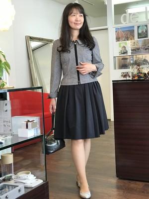 【SALE】膝丈フレアスカート Aライン ネイビー
