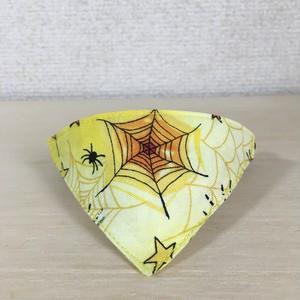 ★ハロウィンに★星蜘蛛柄イエロー 猫用バンダナ風セーフティ首輪