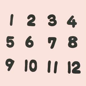 黒い数字(1~12)の壁面装飾