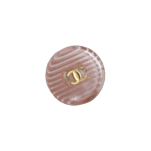 【VINTAGE CHANEL BUTTON】クリアボーダー ココマーク埋め込み ボタン ピンク 12mm