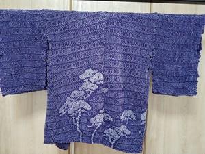 未仕立て 絞り 羽織 紫 松