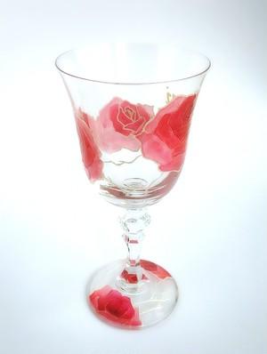 【両親プレゼント・結婚式乾杯記念日グラス・ウェディングギフト・結婚祝い】愛情のバラ カラーワイングラス