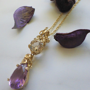 Amethyst&Clear quartz Wire jewelry