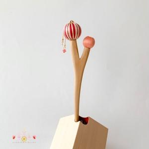 枝に実りのかんざし-二つ実り-【赤とピンク】