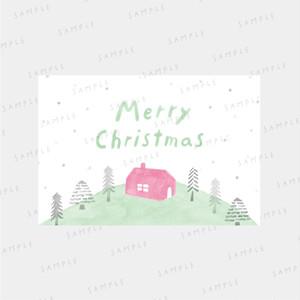 Xmasカード ・デザインデータ〈ピンクの家〉