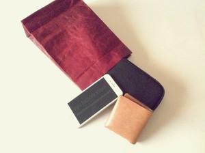 KAMIBUKURO(紙 袋) small 国内本牛革製 レッド