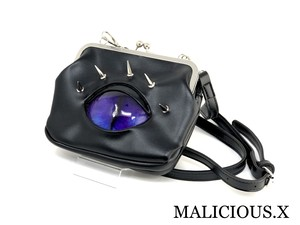 cat eye shoulder metal clasp bag / blue × violet
