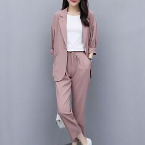 【セット】超人気商品通勤ボタン折り襟スーツ+ロング無地パンツ33177553