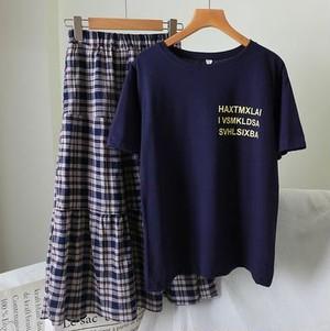 ツーピースセット Tシャツ チェック柄スカート Aライン ラウンドネック 半袖トップス カジュアル ガーリー ロゴプリントロゴプリント ゆったり ブルー