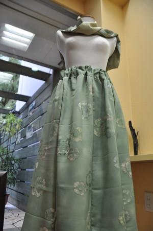 2点セット グリンピース色やさしいお花着物スカート・鮫小紋スカーフ