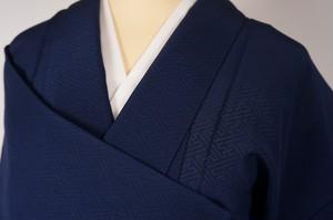 未使用【夏】紋紗 色無地 正絹 紋なし 濃藍色 紺 276