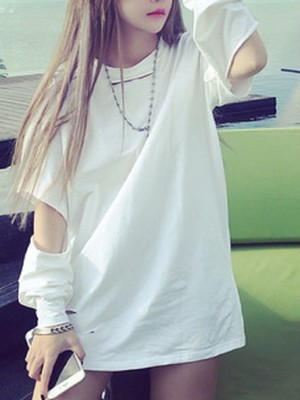 【tops】Fashion loose hollow hollow solid color T-shirt