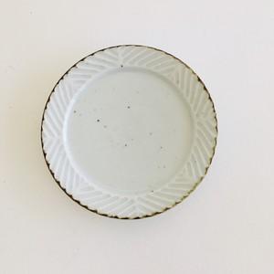 砥部焼 皐月窯 リム皿 5寸 しのぎ