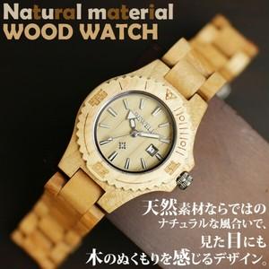 送料無料 天然素材 木製腕時計 日付カレンダー 軽い 軽量 WDW001-03 レディース腕時計