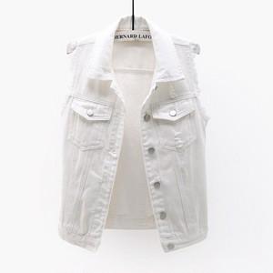 1300レディース デニム ベスト  チョッキ女性 秋 春 ノースリーブ デニムジャケット Gジャン ジーンズ 白 ホワイト