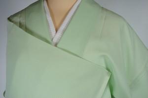 未使用【夏】色無地 絽 一つ紋 正絹 パステルグリーン 黄緑 529