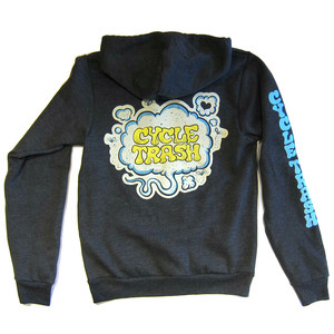 "Cycle Trash Full Zip Hoodie ""Fart"", full color - dark heather charcoal"