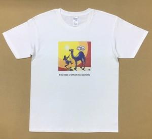 Jean-Pierre Anpontan アートプリントTシャツ「ピンチこそチャンス」白Tシャツにオリジナルアート+ロゴ メンズ レディス キッズ
