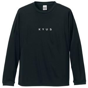 KYUS miniロゴ ドライシルキー ロングスリーブTシャツ(ブラック×ホワイト)
