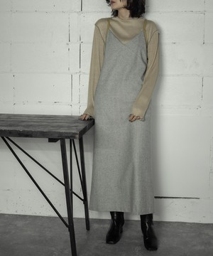 LEATHER PIPING CAMISOLE OP (L.GRAY)