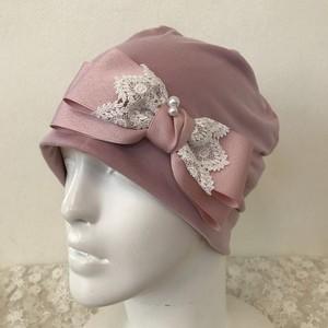 パールとレースのケア帽子 冷感素材ピンク14