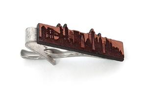 ヴィンテージ チェリーウッド ネクタイピン ニューヨーク Wooden Tie Bar New York skyline -Cherry