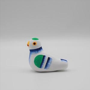下川原焼土人形 鳩笛(中・青) 137-shita-21