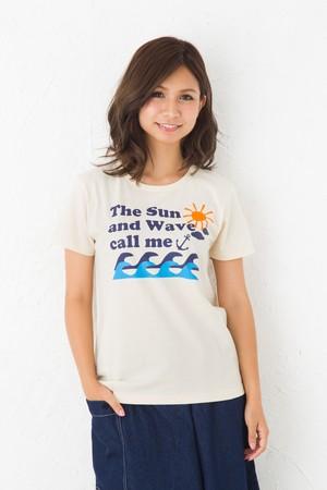 太陽と波 モチーフTシャツ 半袖 ナチュラル