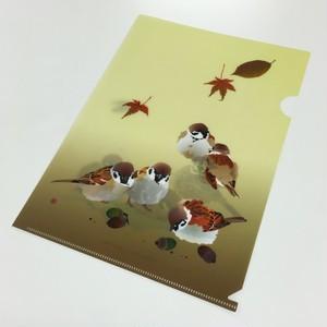 クリアファイル A4 すずむ夏、もふる秋(すずめ)
