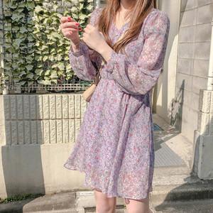 【ワンピース】新作レトロスウィート着瘦せプリントワンピース