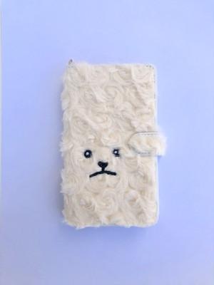 【新色&マグネット式登場】巻き毛トイプードル手帳マルチスマホケース 【レモンクリーム】