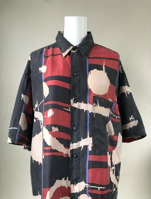 USED / Modern art pattern silk s/s shirts