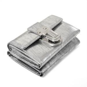 213AWA02 Leather trifold wallet 'cartable' 三つ折りウォレット/スクラッチシルバー