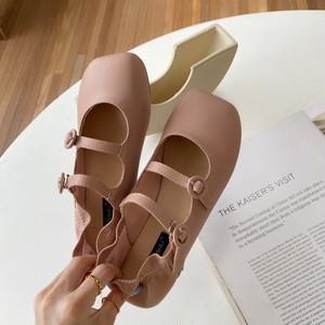 フリル付きストラップシューズ スクエアトゥ ダブルストラップ かわいい フェミニン 靴 韓国