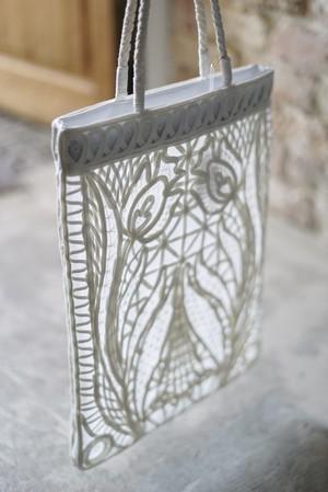 Mame Kurogouchi /  Cording Embroidery Tote Bag( BLACK / WHITE )