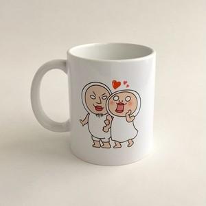 【単品:白】しろめちゃんとおまめさんラブラブマグカップ