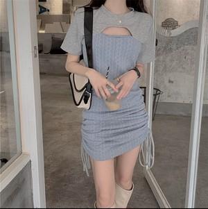 casual echi dress 3color