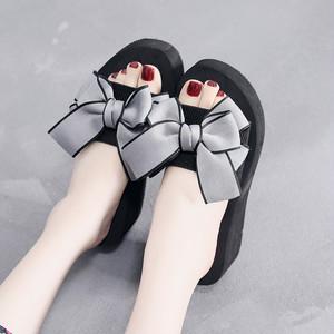【シューズ 】高級感ファッションリボン付き丸トゥ平底・厚底サンダル21122853