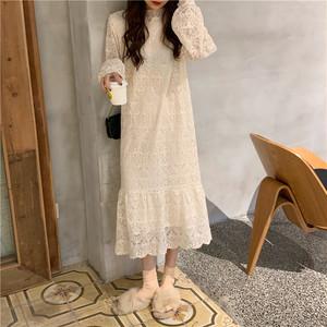【ワンピース】韓流ファッションスウィートゆったりロングレースワンピース