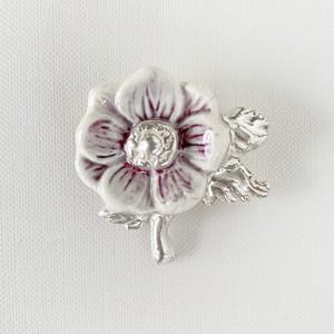 アネモネ紫銀彩ブローチ