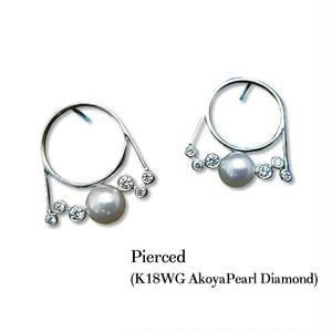 jewelG <Chic> ダイヤモンド&アコヤパール ピアス K18WG