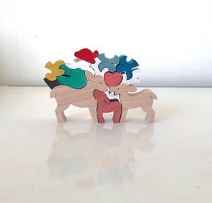 小黒三郎さんのクリスマス 小鳥と遊ぶサンタとトナカイ(未使用在庫品)