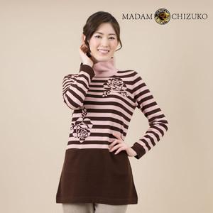 MADAM CHIZUKO / バラ&ボーダー柄チュニック / カシミヤ100%(イタリア糸使用)