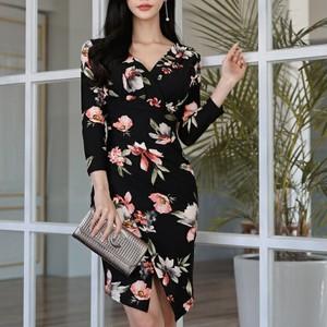 【dress】綺麗なプリントセクシーラインワンピース