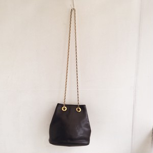 CELINE logo bucket chain shoulder bag