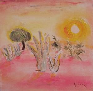 砂漠の夕陽