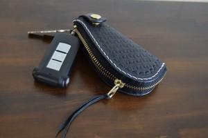 zipper key case キーケース (バスケット柄)