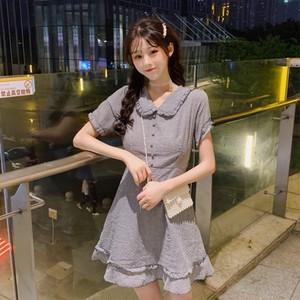 【ワンピース】韓国風清新レトロチェック柄ショートワンピース